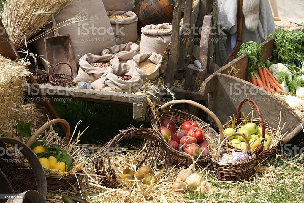 baskets with seasonal fruit and vegetables royalty-free stock photo