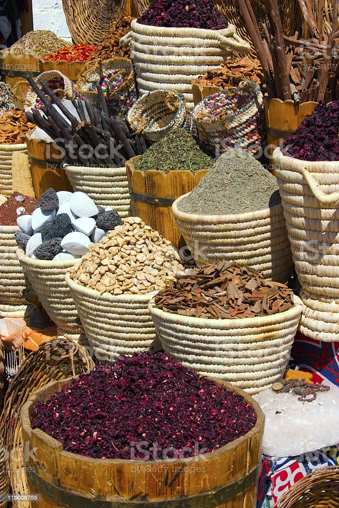 Baskets with spicery on east bazaar royalty-free stock photo