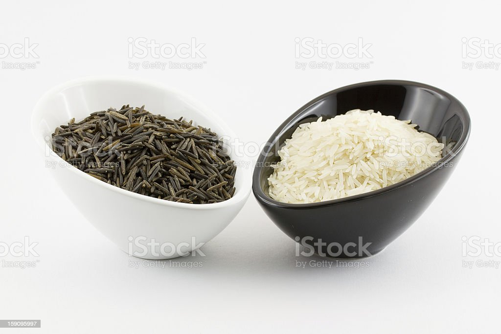 Basmati rice and white tice royalty-free stock photo