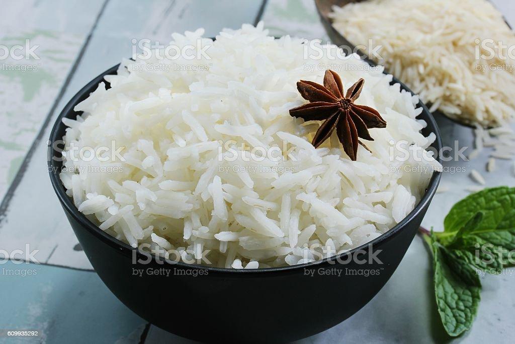 Basmati rice cooke / Basmati rice bowl, selective focus stock photo