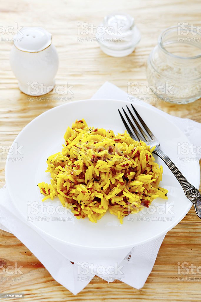 basmati rice with saffron royalty-free stock photo