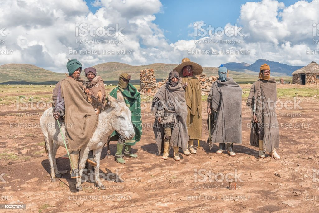 Basotho people in traditional clothes in Mamokae in Lesotho - Royalty-free Adult Stock Photo