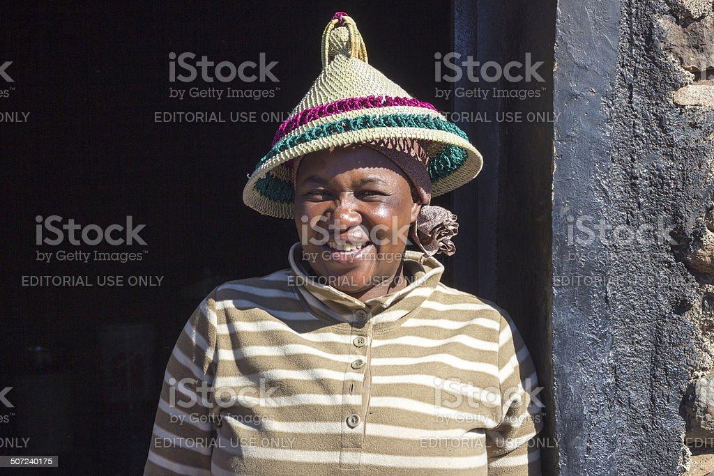 Basotho Woman in Sani Pass, Lesotho stock photo