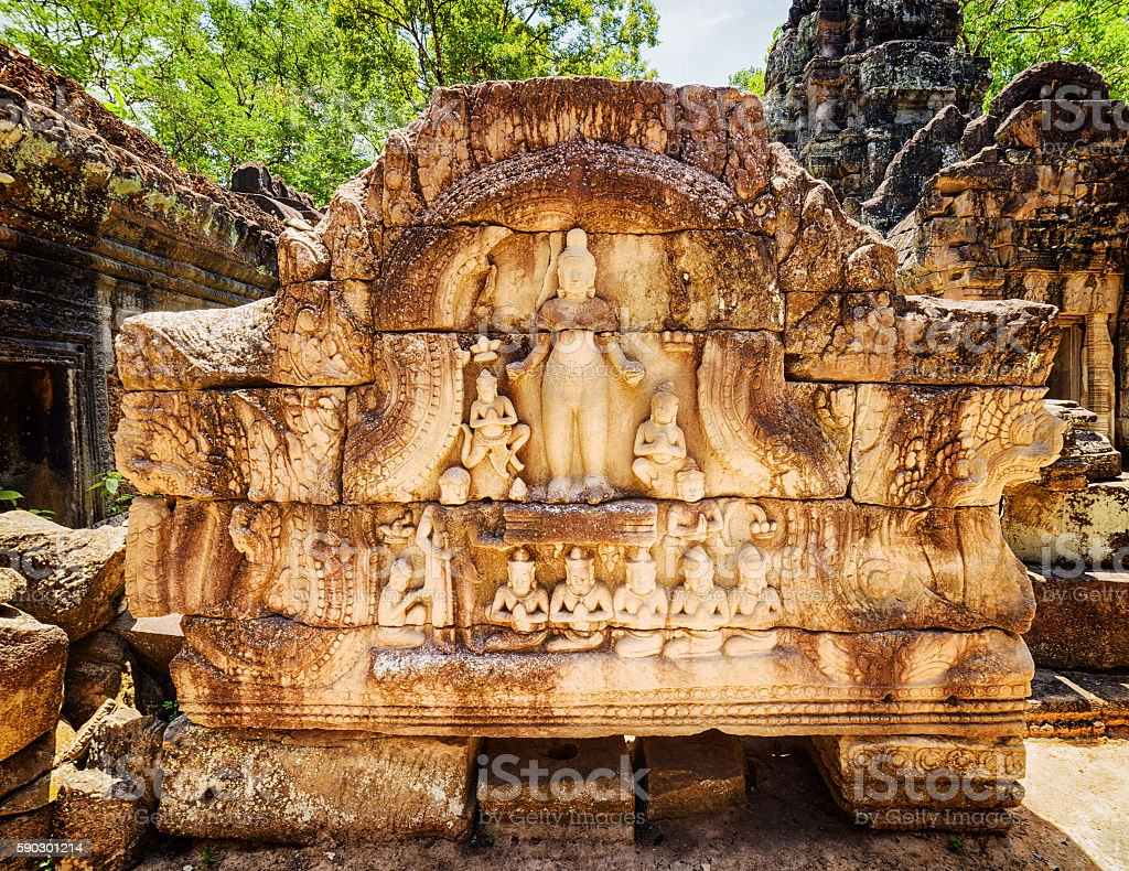 Bas-relief at ancient Ta Som temple in Angkor, Cambodia royaltyfri bildbanksbilder