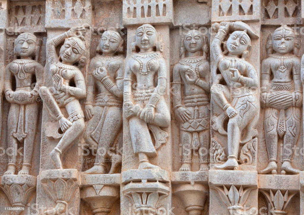 Bas-relief at famous ancient Jagdish Temple in Udaipur, Rajasthan, India stock photo