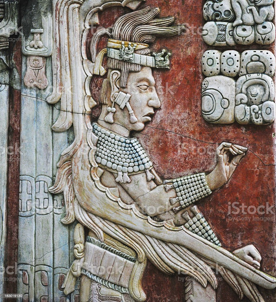 Bas-Relief at Palenque ruins royalty-free stock photo