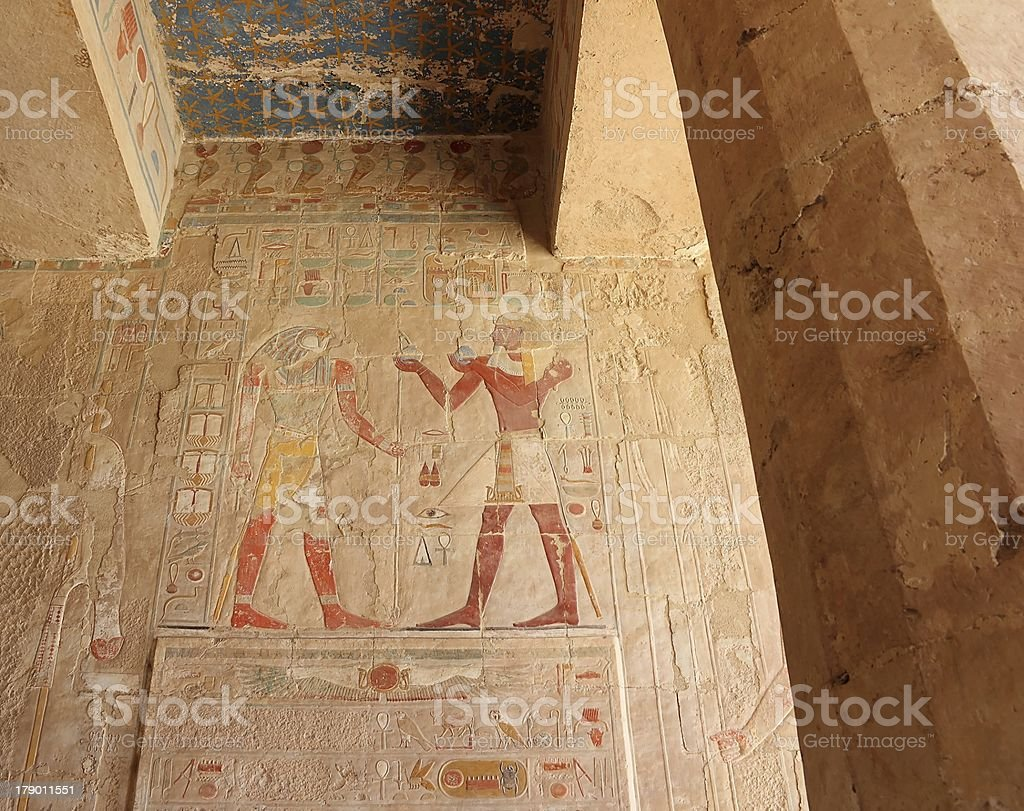 Bas-relief at the Temple of Hatshepsut. stock photo