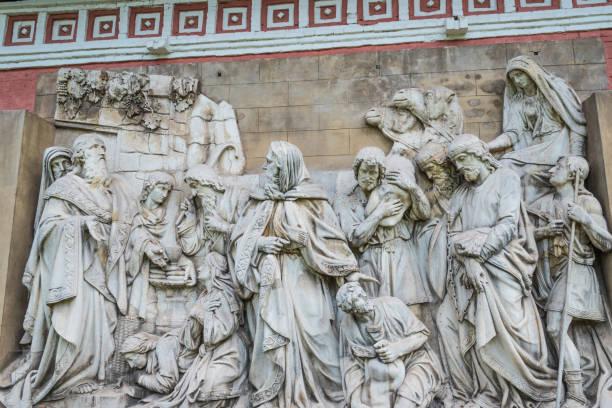 Bas-relief, Melchizedek meets Abraham stock photo