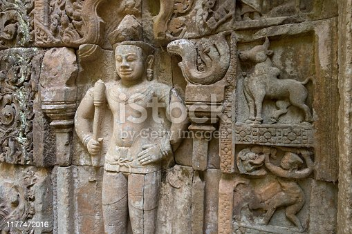 Bas-relief mural in Banteay Kdei, Citadel of Monks' cells, a temple in Angkor Wat complex, Siem Reap, Cambodia