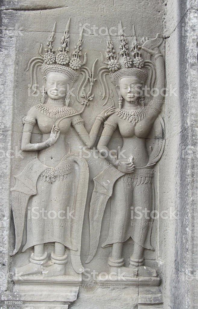 Bas-Relief of Apsara royalty-free stock photo