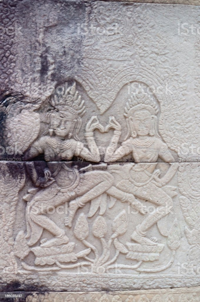 Bas-relief of Banteay Kdei temple.Angkor. Siem Reap. Cambodia royalty-free stock photo