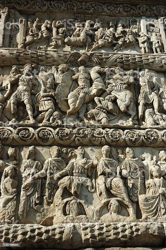Bas-relief of famous Galerius Arch in Thessaloniki, Greece royalty-free stock photo