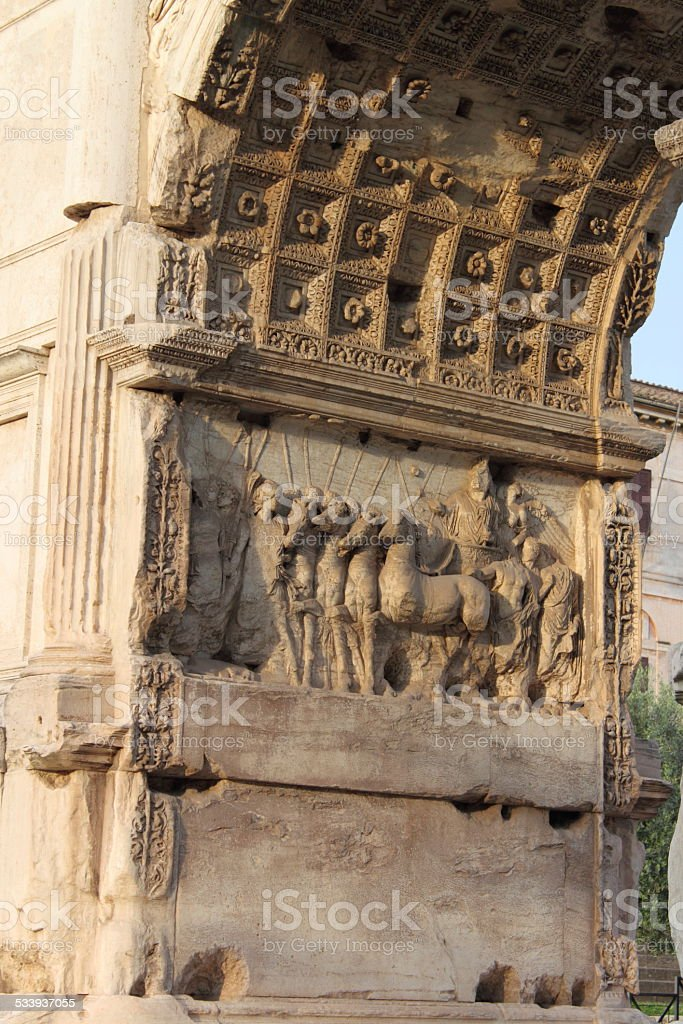 Basreliefs in the Arch of Titus stock photo