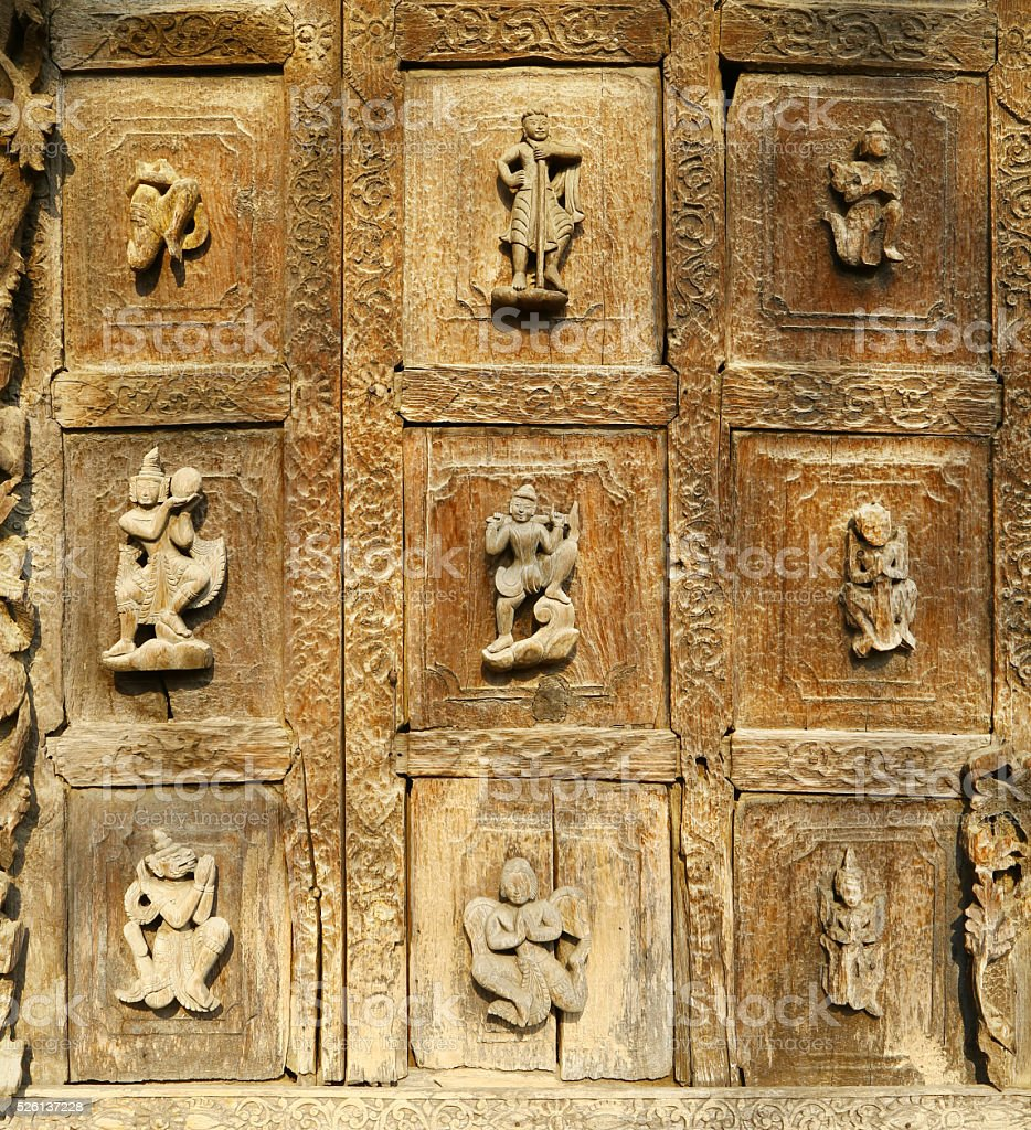 Bas-reliefs of Shwenandaw Kyaung Temple, Myanmar stock photo