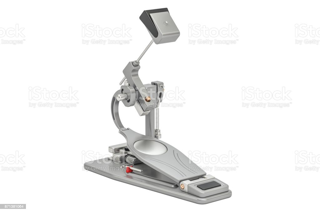 Bass Drum Pedal, 3D rendering isolated on white background stock photo