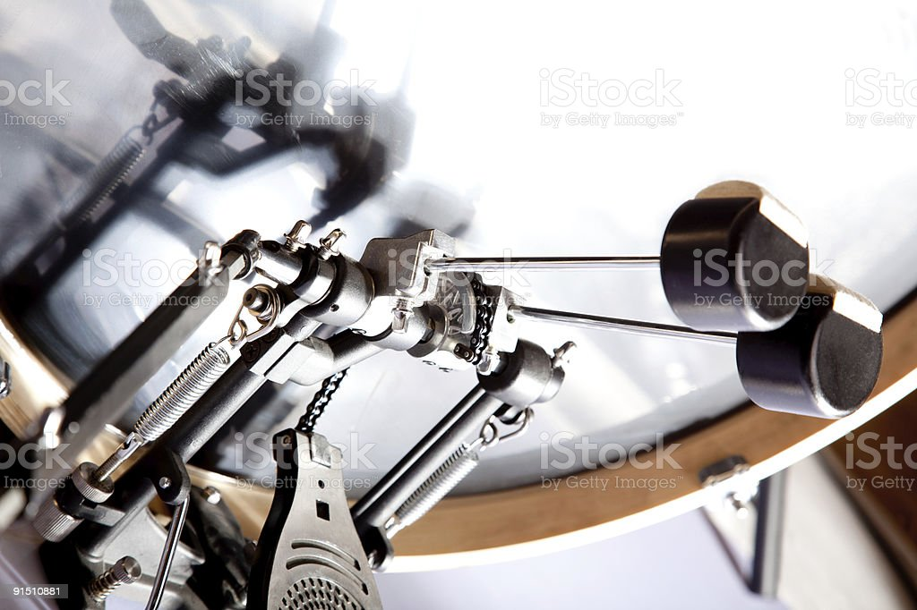 bass drum with double pedal stock photo