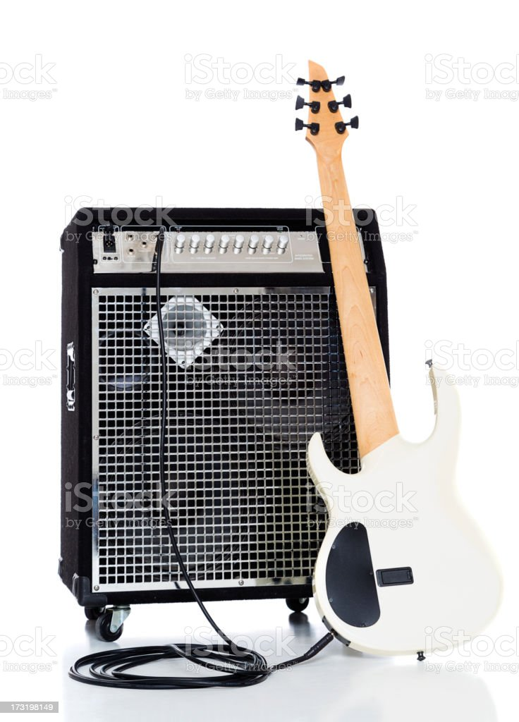 Bass Guitar and Amp stock photo