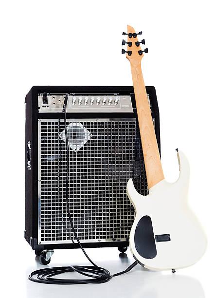 Bass Guitar and Amp stock photo