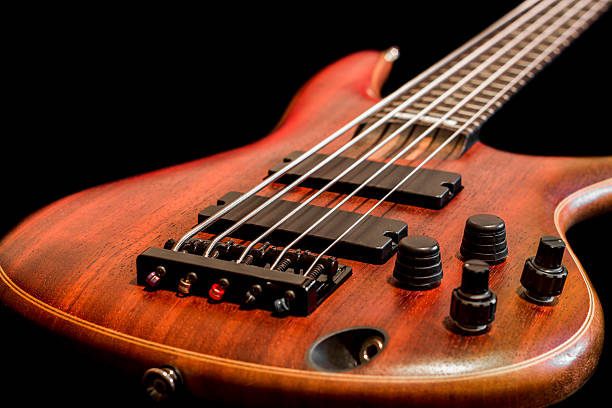 Bass guitar body view (shallow depth of field) stock photo