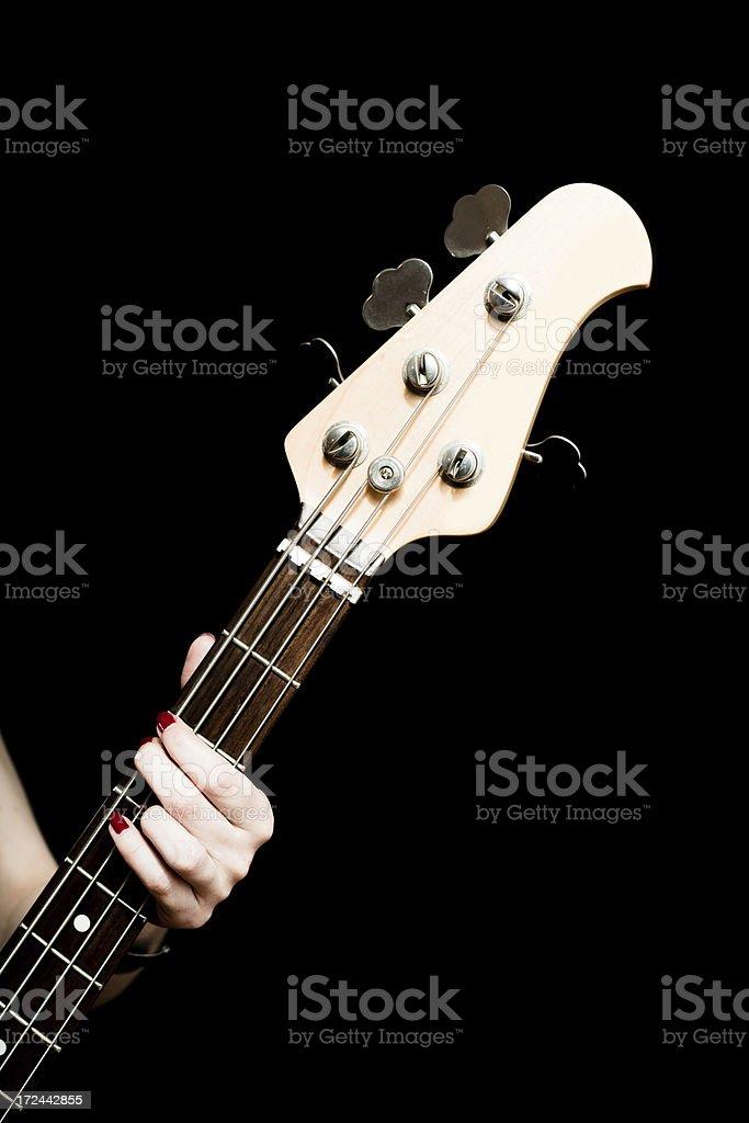 Bass guitar player royalty-free stock photo