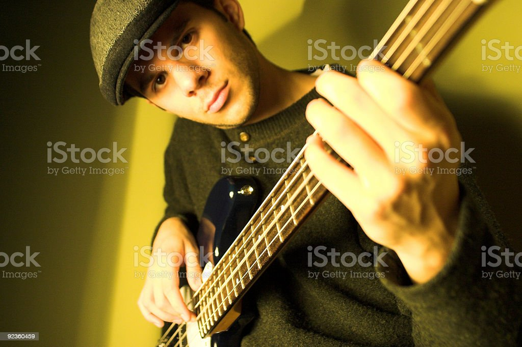Bass Guitar Player stock photo