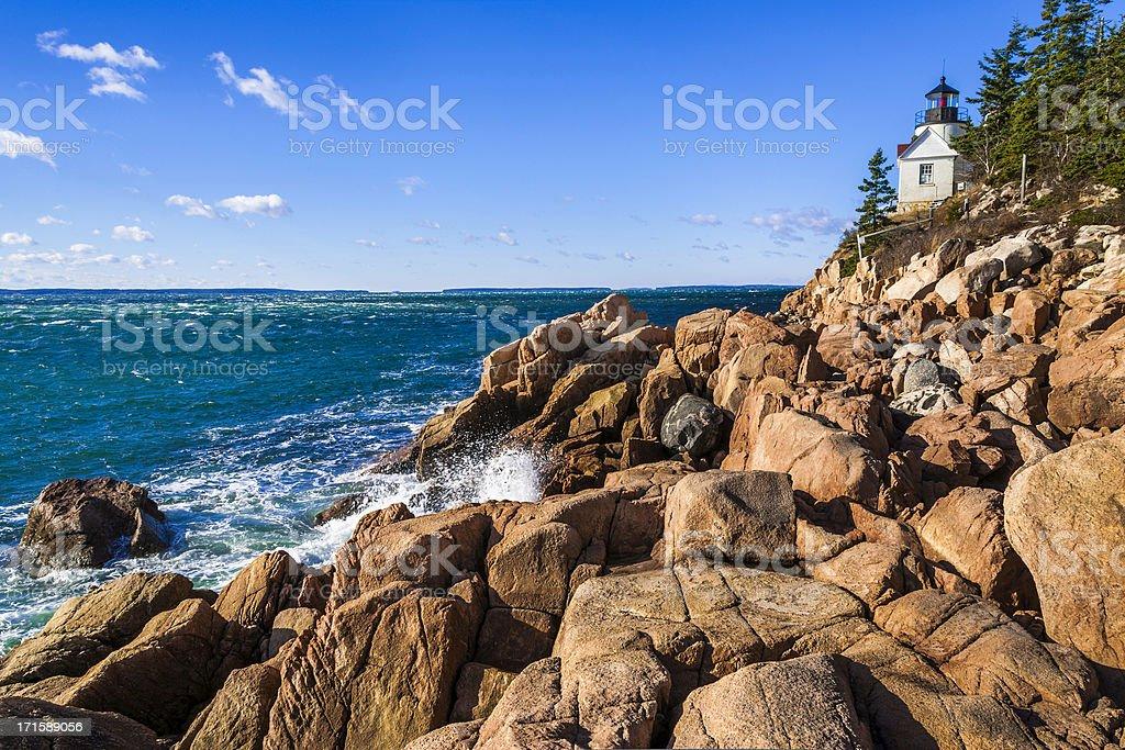 Bass Harbor Head Lighthouse, Acadia National Park, Atlantic Ocea stock photo