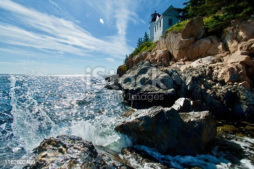 Acadia National Park Lighthouse Harbor bass head coastline pine tree geology rock