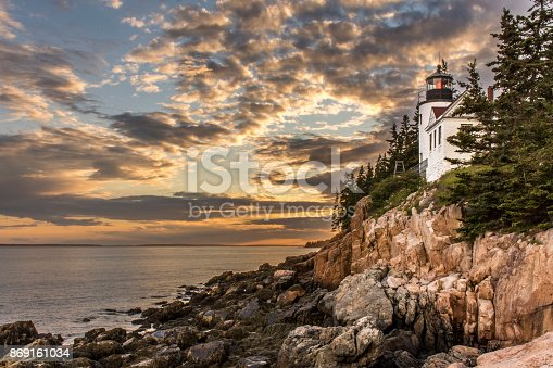 Bass Harbor Head Lighthouse at Sunset - Acadia National Park, Maine, United States