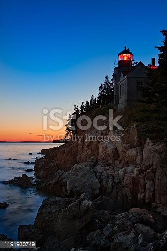 Historic Bass Harbor Lighthouse at sunset. Located in Acadia National Park, Maine.