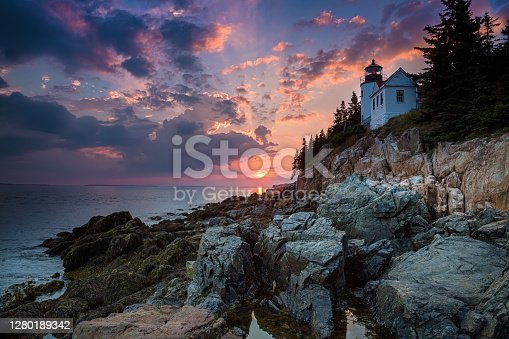 Bass Harbor Lighthouse an sunset. Mount Desert Island, Maine, United States of America