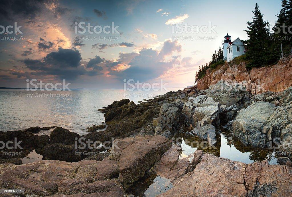 Bass Harbor Lighthouse at dusk stock photo