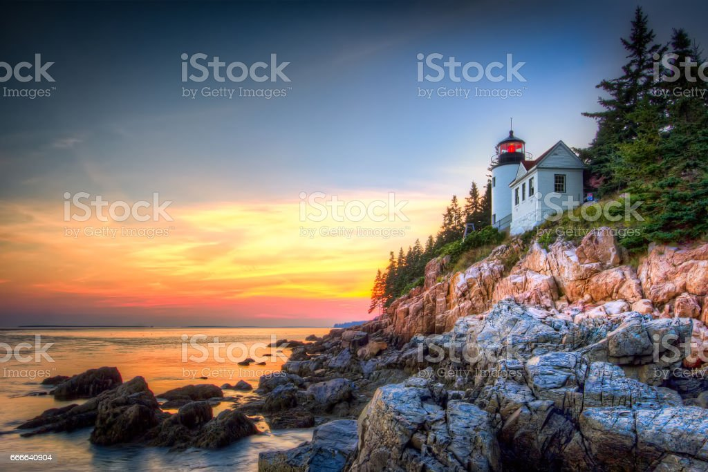 Bass Harbor Lighthouse stock photo