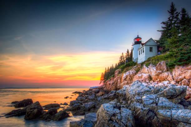 Bass Harbor Lighthouse A beautiful sunset @ Bass Harbor, Acadia National Park, Maine, USA national park stock pictures, royalty-free photos & images