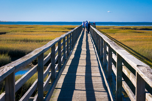 Late season visitors enjoy warm October temperatures as they walk along the quarter mile long Bass Hole boardwalk in Yarmouth, Massachusetts.