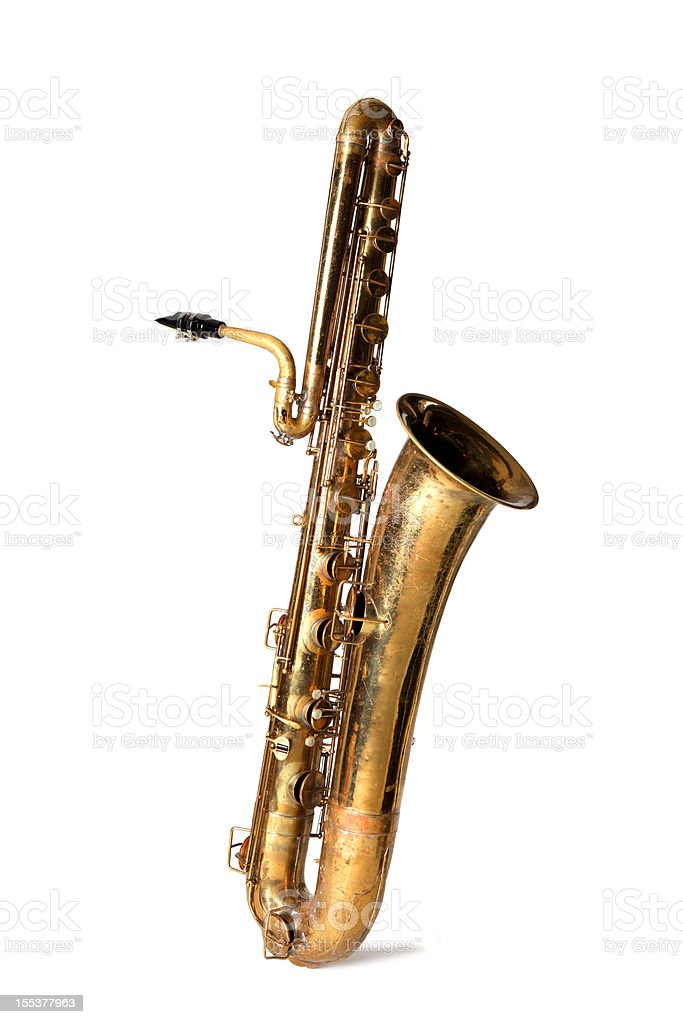 Bass saxophone isolated stock photo