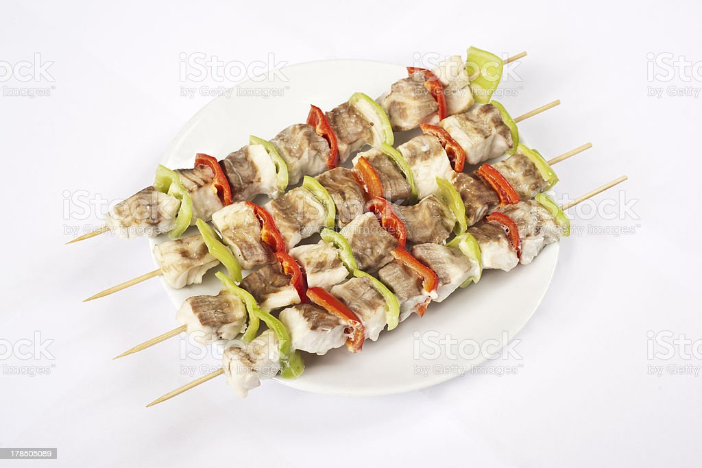 Bass shish kebab stock photo