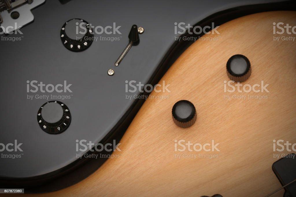 Bass v Guitar stock photo