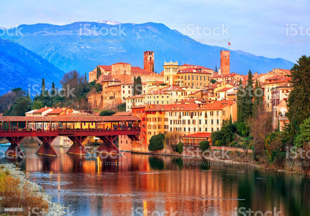 Bassano del Grappa town in the Alps mountains, Italy - foto stock