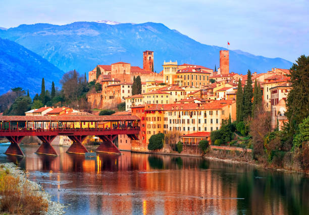 Bassano del Grappa town in the Alps mountains, Italy - foto stock