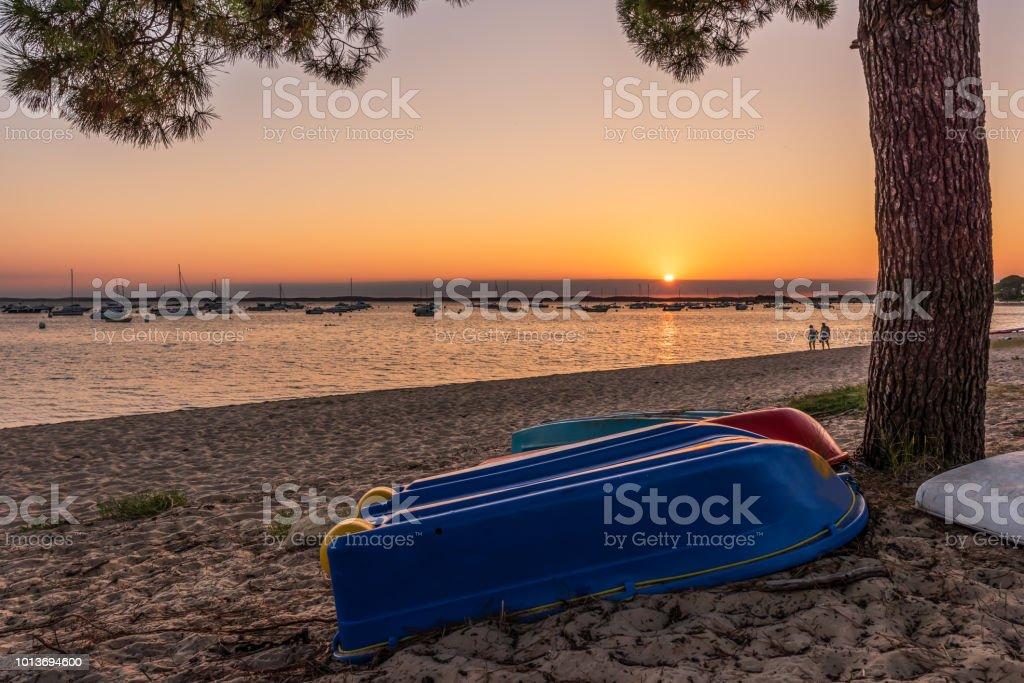 Bassin d'Arcachon (France), coucher de soleil à Andernos - Photo