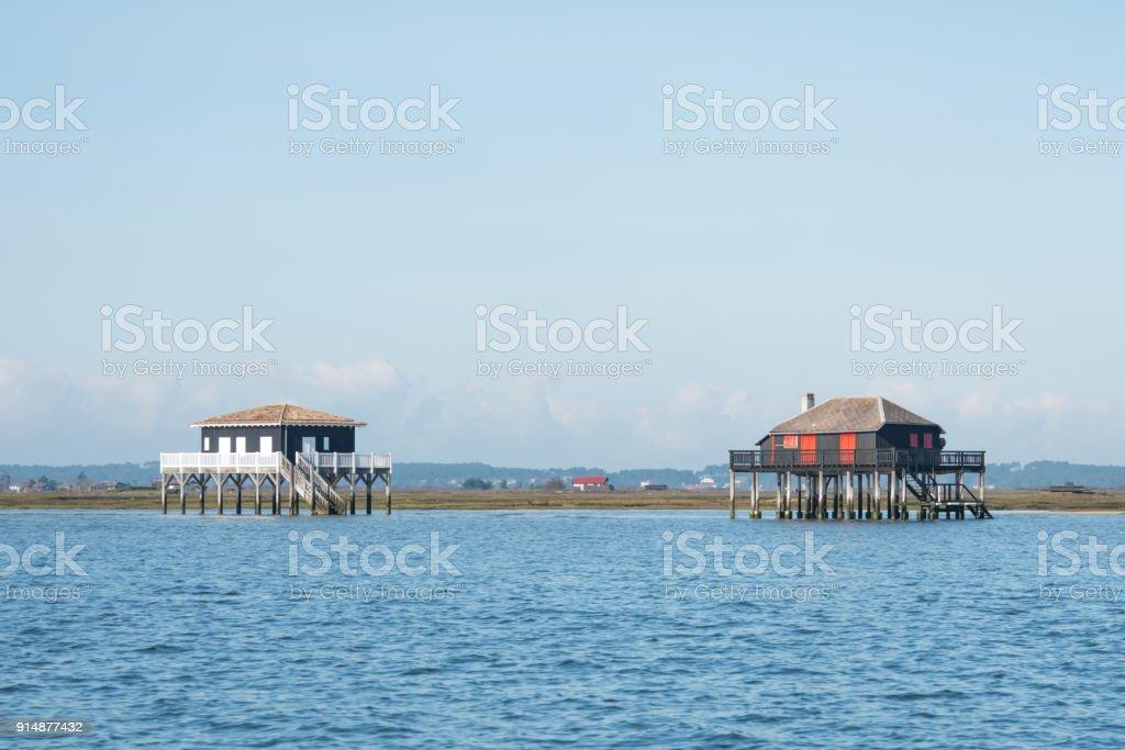 Les célèbres «cabanes tchanquées» du bassin d'Arcachon (France), et l'île aux Oiseaux - Photo