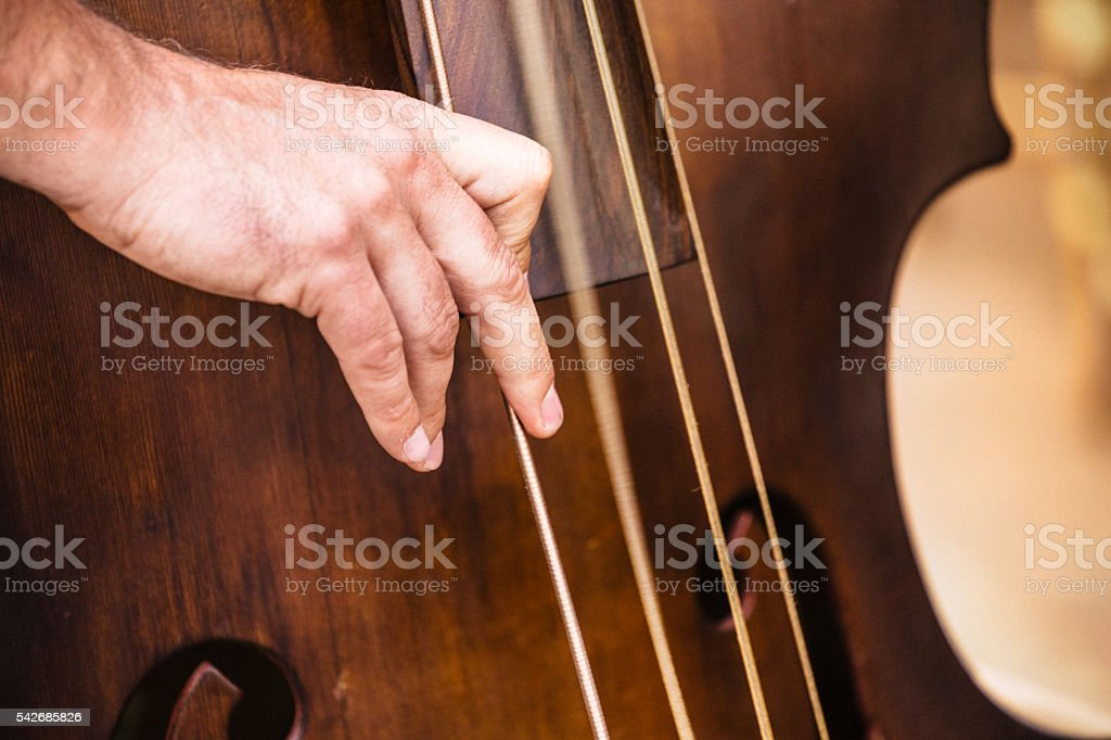 Bassist playing his instrument stock photo