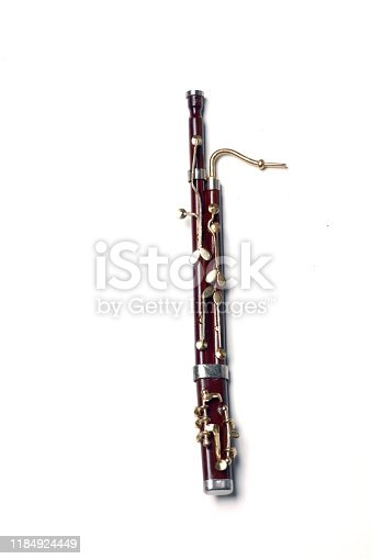 bassoon isolated on white background flat lay