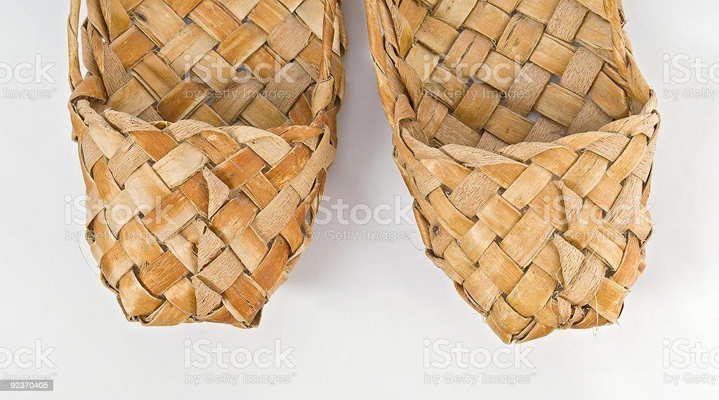 Bast shoes  (lapty) royalty-free stock photo