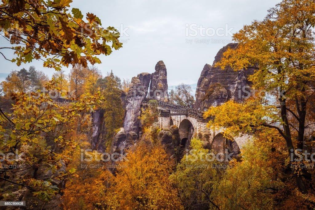 Bastei bridge in autumn landscape stock photo
