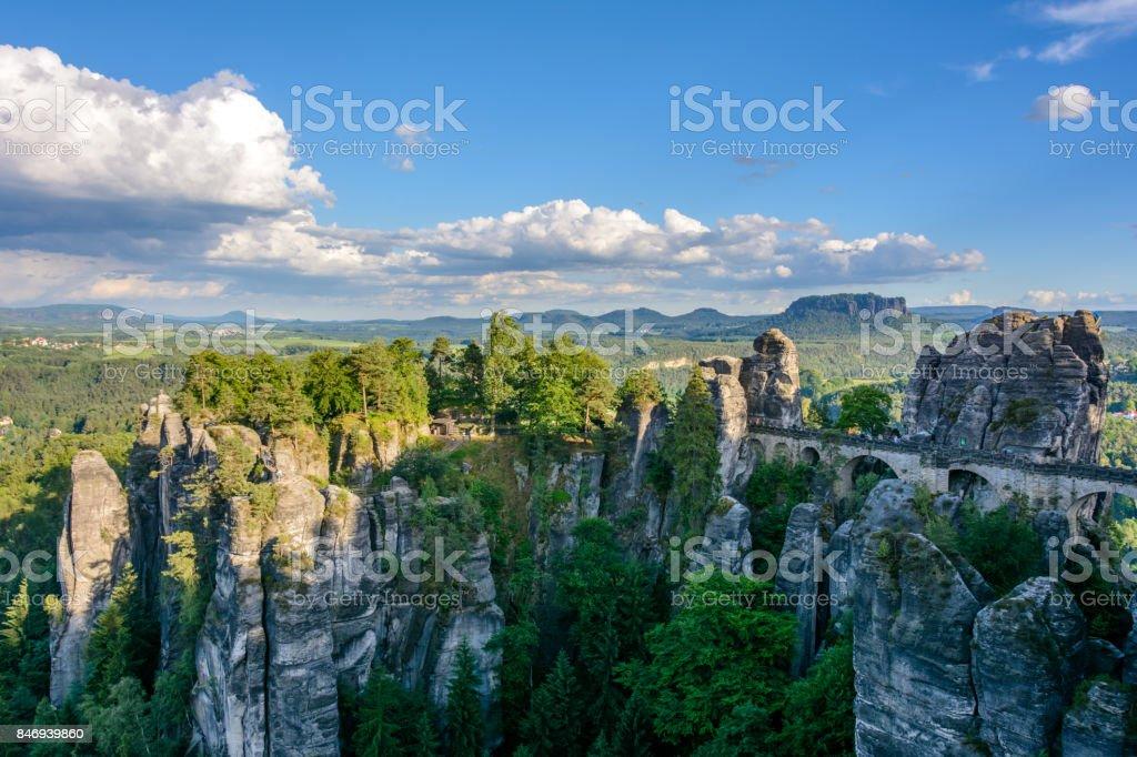 Bastei Bridge in Germany, Saxony. National Park Saxon Switzerland. stock photo