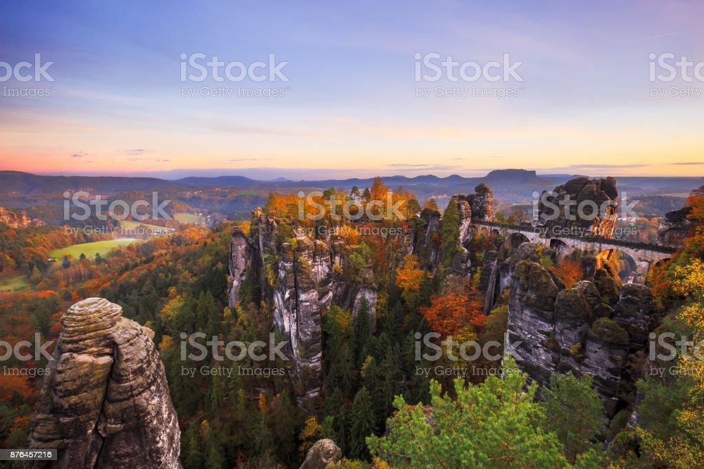 Bastei bridge in Saxon Switzerland stock photo