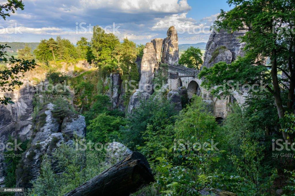 Bastei Bridge in the rocks of the National Park Saxon Switzerland. Germany, Saxony stock photo