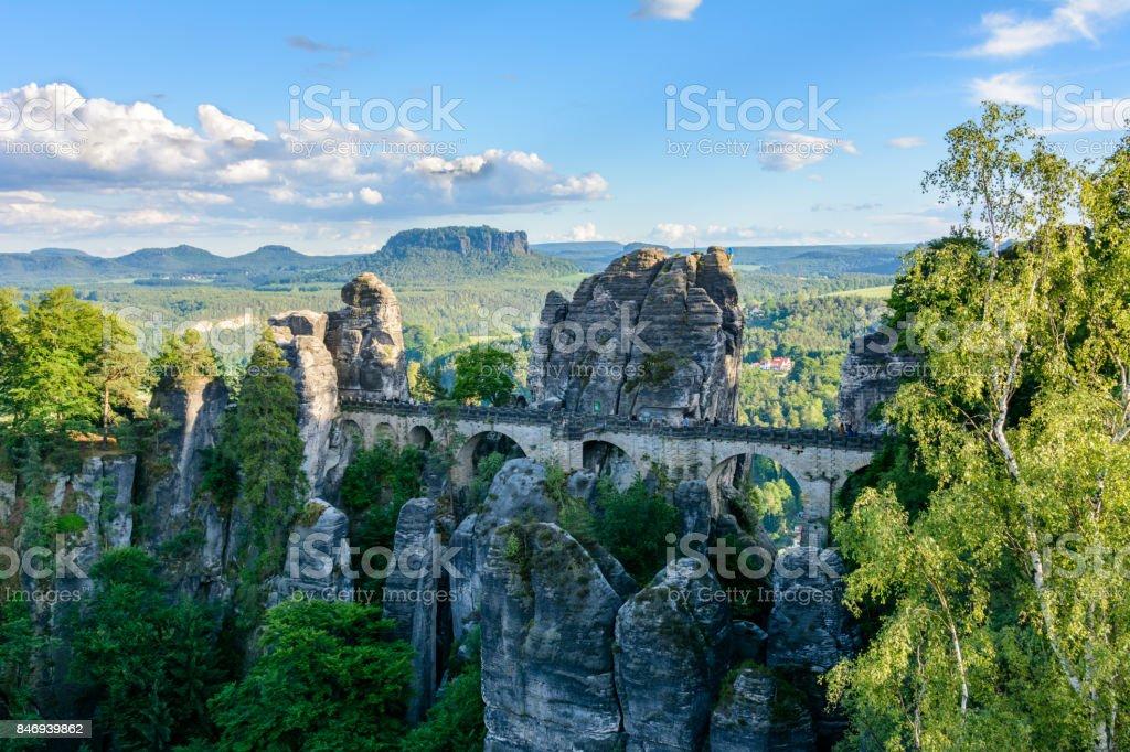 Bastei Bridge in the Saxon Switzerland. Germany, Saxony stock photo