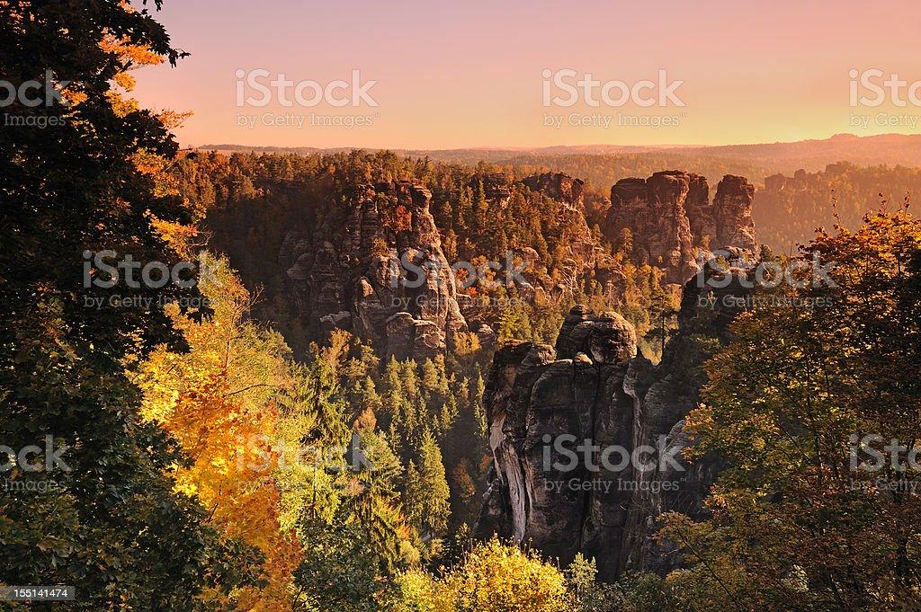 Bastei Rocks in Autumn Sunrise stock photo